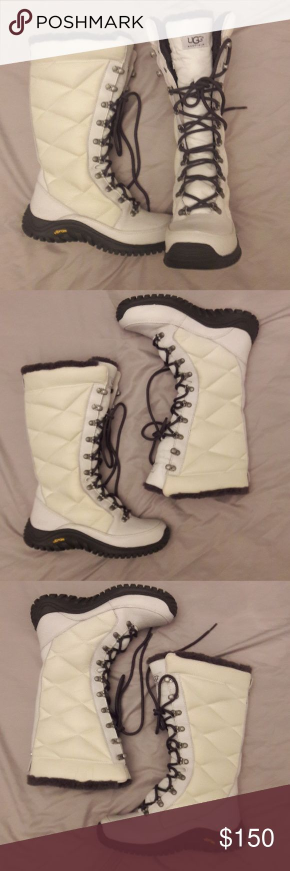 UGG vibram ski boots Ugg Vibram ski boots size 6 leather and sheepskin. Beautiful winter white quilted exterior leather and brown sheepskin lining.  Event waterproof fabric. Item code F 80128 H.   Excellent condition, worn once indoors. UGG Shoes Winter & Rain Boots