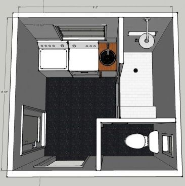 Small laundry room / bathroom floor plan idea.... i do not like laundry room bathrooms but this way everything is hidden!!
