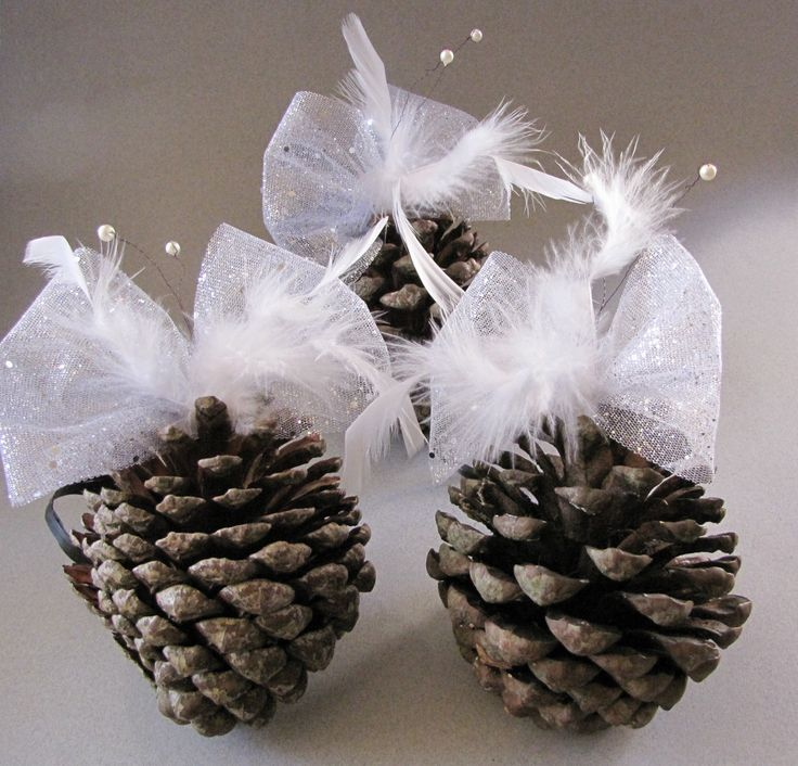 Three Large ornamental pine cones with butterfly bow and feather detail for Christmas or Wedding decoration by HostasAndGarden on Etsy