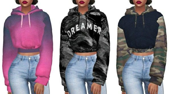 Kenzar Sims: Crop Hoodie Retextured • Sims 4 Downloads - clothing, workout, cool, plus size, for work, mens clothes *ad