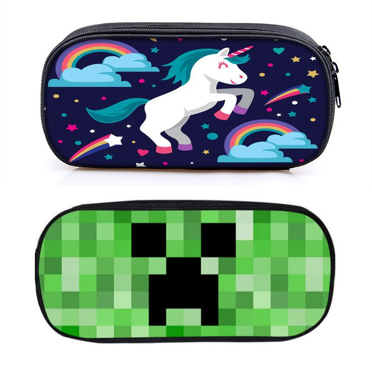 Galaxy Unicorn Minecraft Pencil Case Cartoon My World Multifunction Big Pencilcase Pen Box Canvas School Stationery Bag Pouch