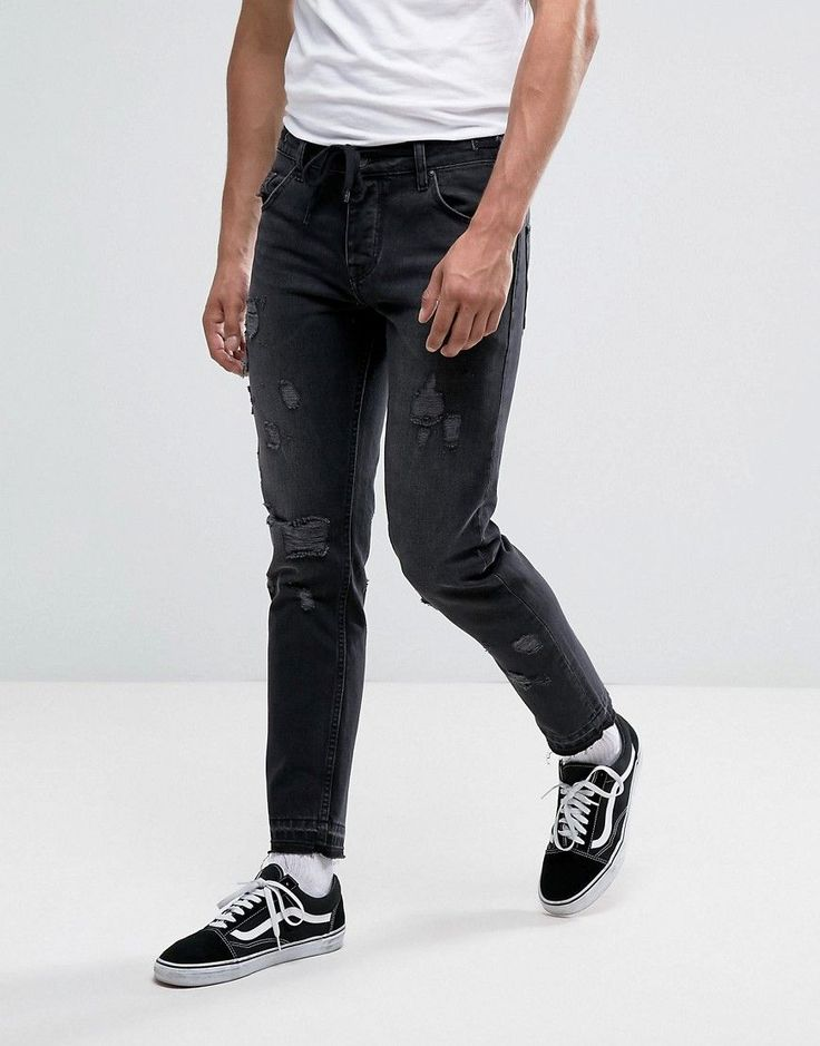 ASOS Slim Ankle Grazer Jeans In Washed Black With Distressing And Draw