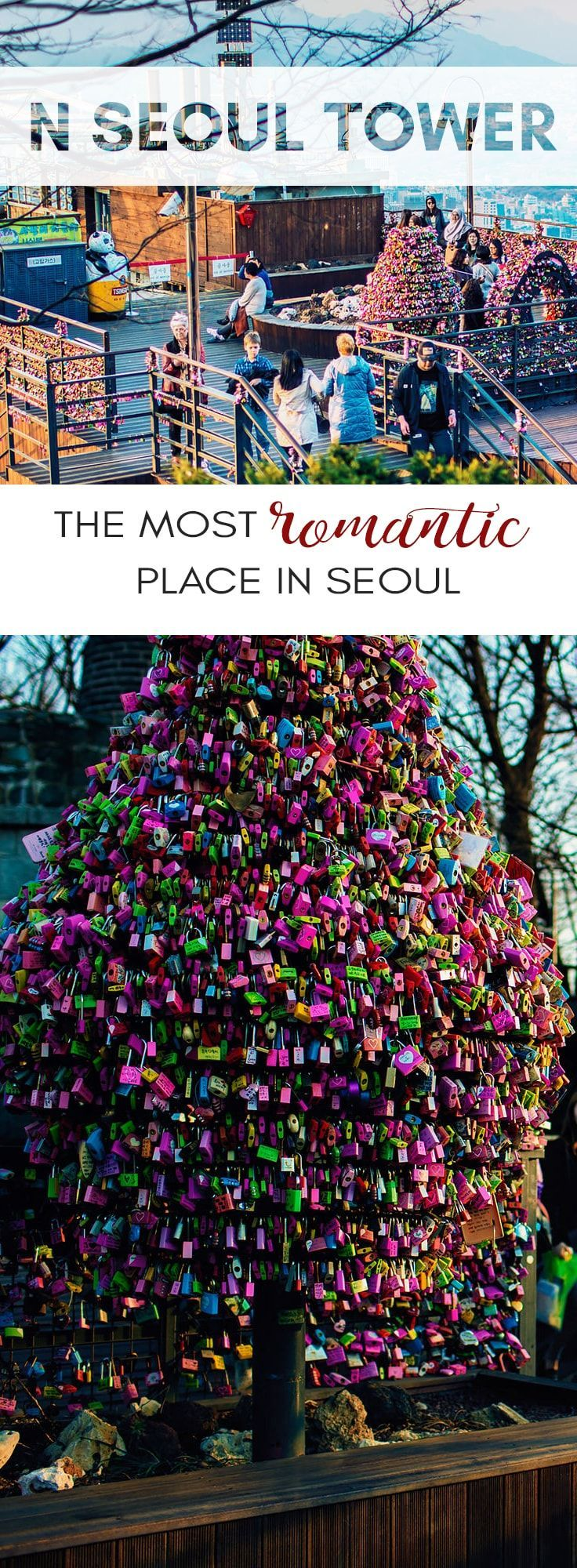 Namsan Seoul Tower or N Seoul Tower is the perfect date itinerary for a romantic date in Seoul South Korea. A Seoul Travel Guide to the love locks and alive museum at Seoul tower.