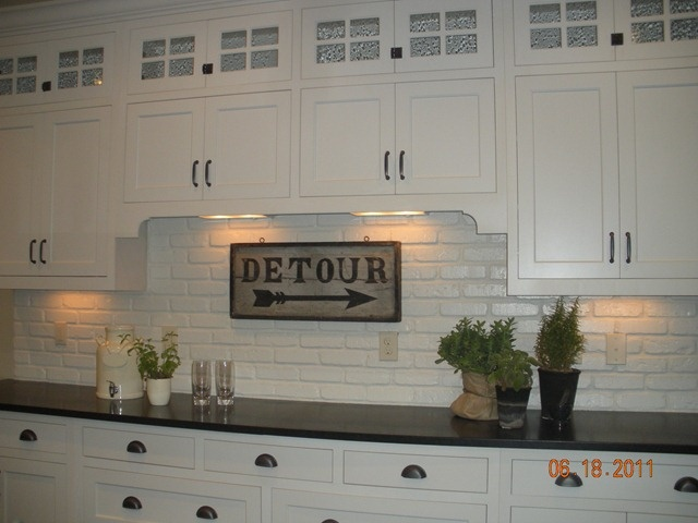 painted brick backsplash for the kitchen pinterest