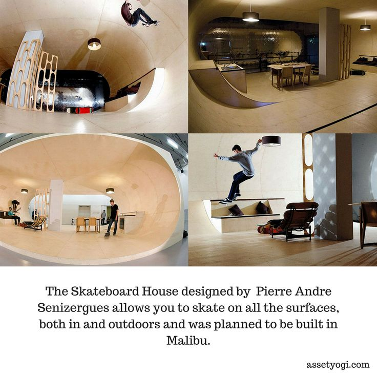 The Skateboard House designed by  Pierre Andre Senizergues allows you to skate on all the surfaces, both in and outdoors and was planned to be built in Malibu.   #RealEstate #Architecture #AssetYogi