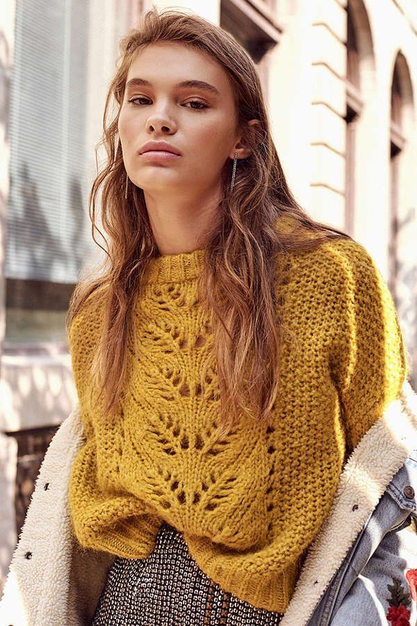Slide View: 1: UO Devon Pointelle Knit Sweater