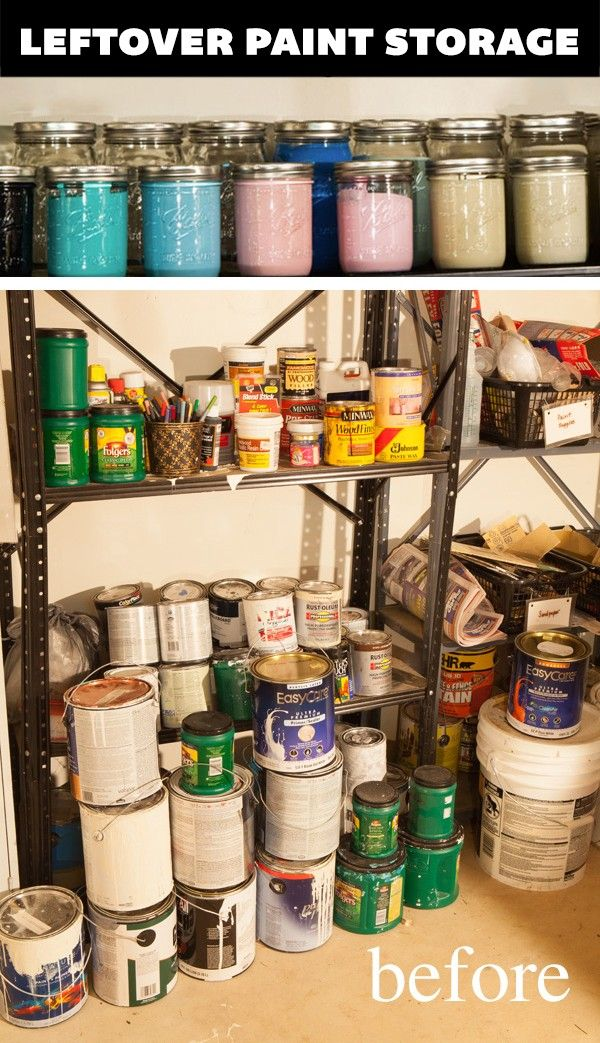 An organized life ~ store all leftover paint in mason jars