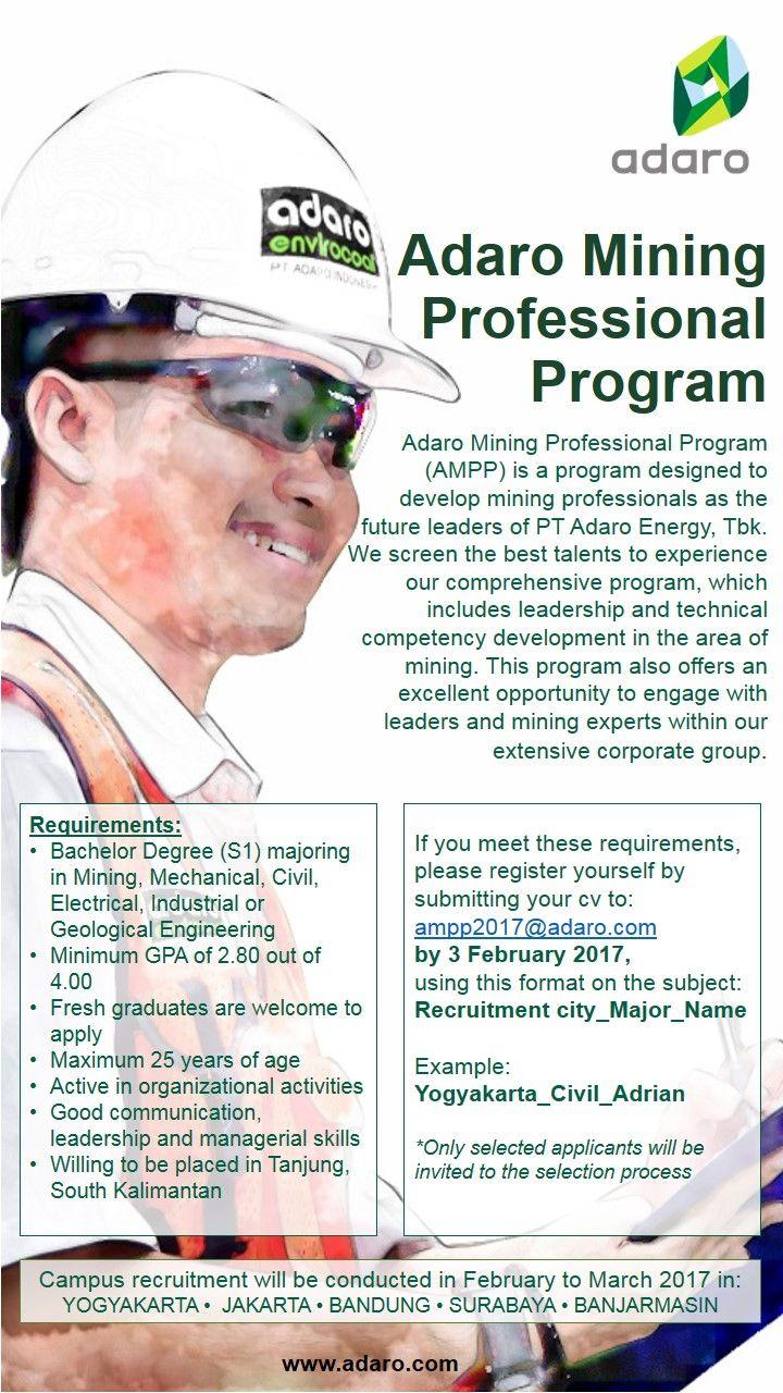 JOIN! Adaro Mining Professional Program (AMPP) from Adaro Energy for  Bachelor Degree (S1) >> http://bit.ly/2iTg4EH     DEADLINE: 4 February 2017 #itbcc #karirITB #ITBcareer