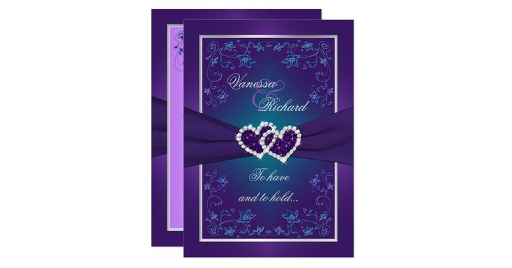 """This romantic and dramatic deep purple, teal green and silver grey floral wedding invitation has a PRINTED RIBBON, a pair of PRINTED diamond and glitter joined jewel hearts and metallic look teal blue and iridescent lilac purple flowers on it. There is also a removeable wedding verse that says """"To have and to hold... From this day forward..."""". ****PLEASE NOTE that everything will print as it appears on your monitor, so if you have typos, alignment, or sizing issues, please contact me for…"""