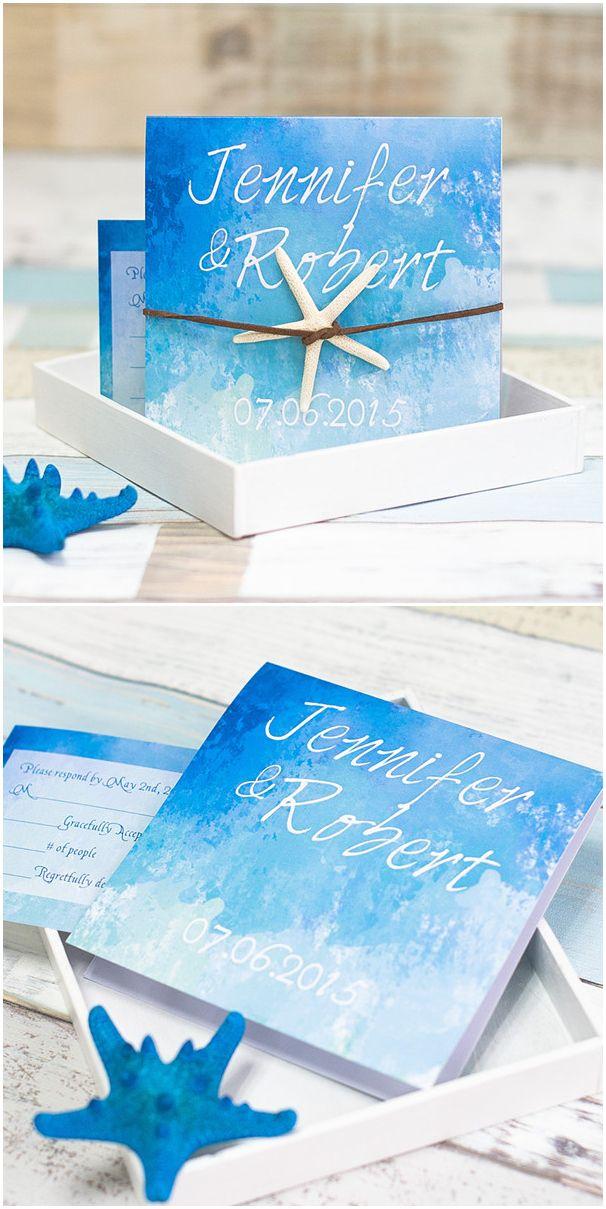 Ombre Watercolor Blue Beach Starfish Wedding Invitations