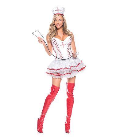 Look at this #zulilyfind! White & Red Nifty Nurse Costume Set - Women #zulilyfinds