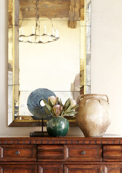 Wiseman and Gale - Interior Designer - Scottsdale - Rustic - Southwestern - Transitional - Vignette - Mirror - Luxe - Display Table - Drawers - Vase - Gold - Silver - Shine - Neutrals - Warm - Entryway - Foyer