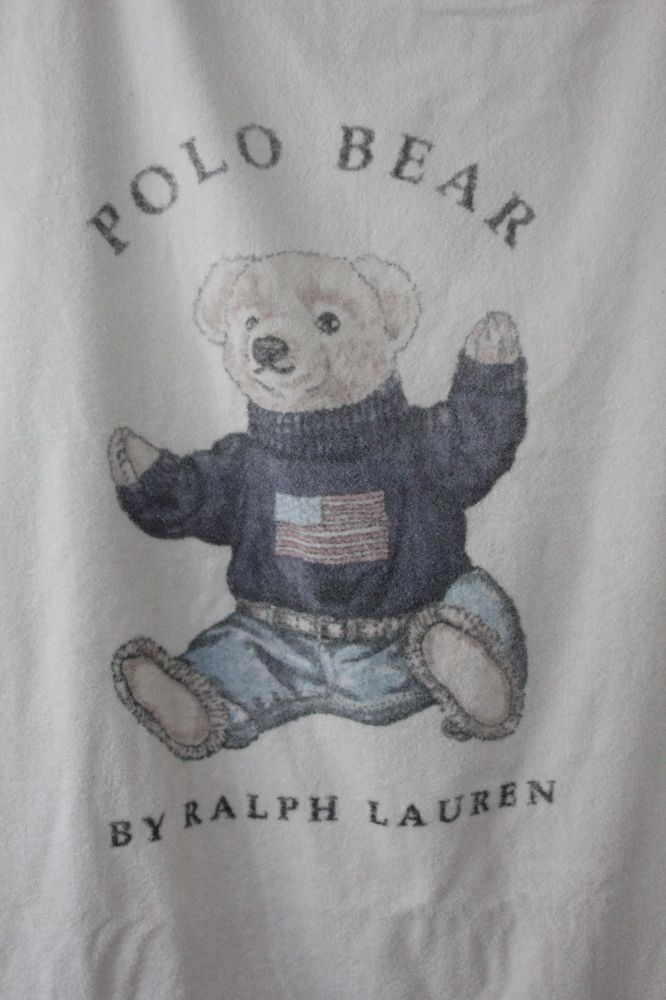 Vintage Ralph Lauren Polo Teddy Bear Flag Sweater Beach Towel Made