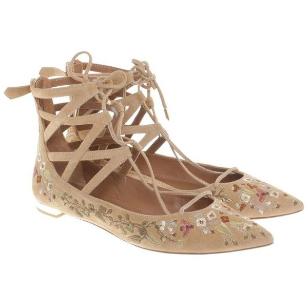 Pre-owned Ballerinas with lace-up element (1,140 PEN) ❤ liked on Polyvore featuring shoes, flats, beige, ballet shoes, lace flats, beige ballet flats, lace up flats and floral ballet flats