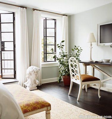 guest bedroomDecor, Wall Colors, Nate Berkus, Black Windows, Bedrooms, Painting Colors, Wall Colours, Katie Lee, Benjamin Moore