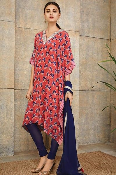 Payal Singhal Red Kaftan Style Party Wear Designer Salwar Kameez