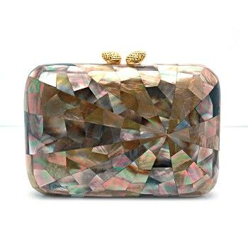 A splintered effect in a little purse to clutch close, crafted in a mosaic of mother of pearl.