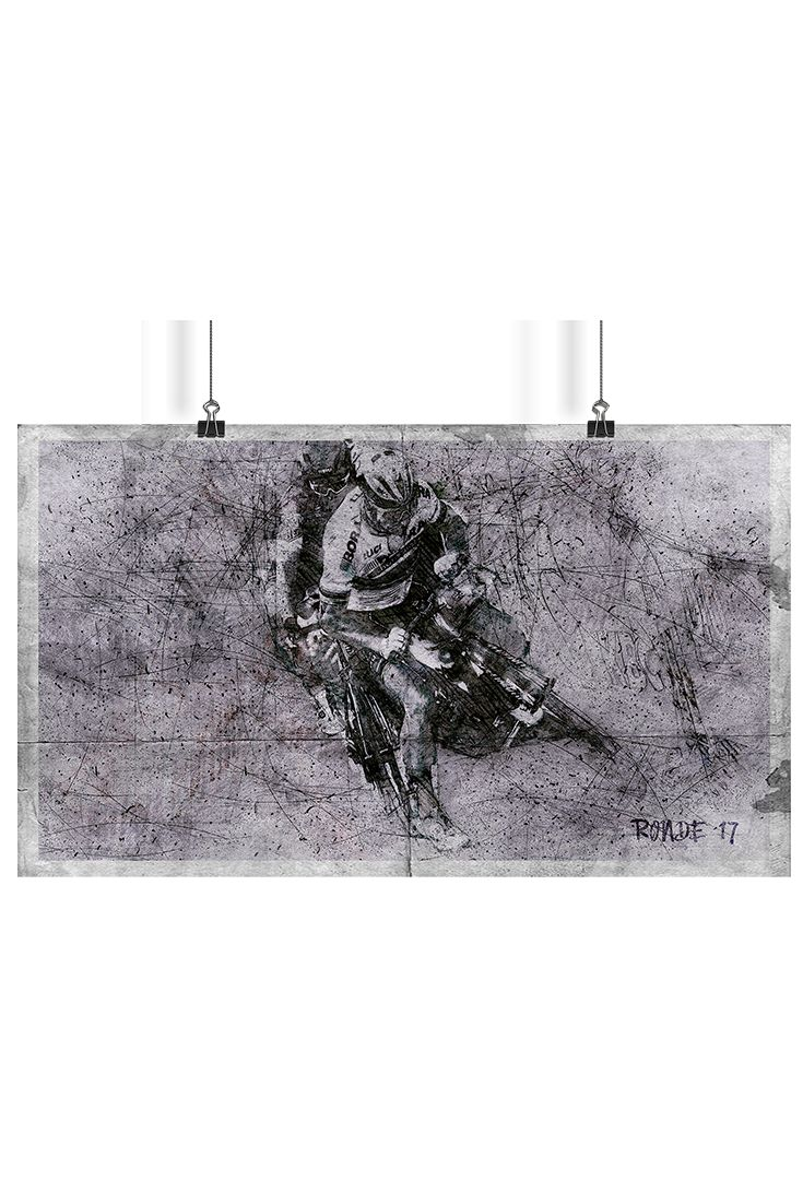 Graphic illustration of crucial crash moment from Ronde van Vlaanderen 2017. Composition used combination of  pen sketch, smooth acrylic background and dots style frequently used in pointilism. Illustration set for download is available in .jpeg, .png and .tiff format. Resolution 300 pixels per inch with size 4000 x 2307 pixels.