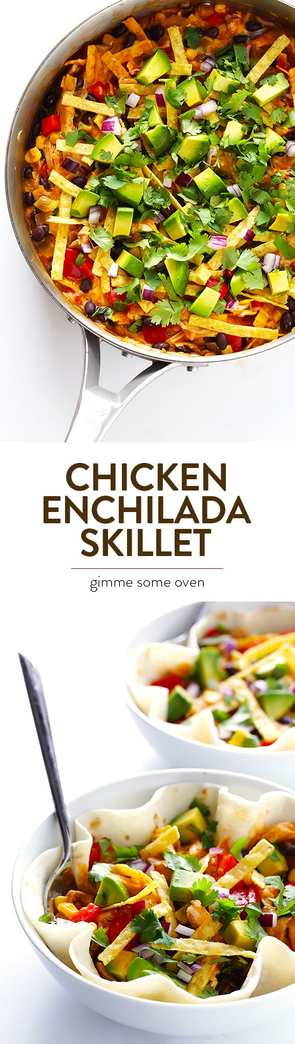 Everything you love about chicken enchiladas...made extra easy in 20 minutes in a skillet! | gimmesomeoven.com