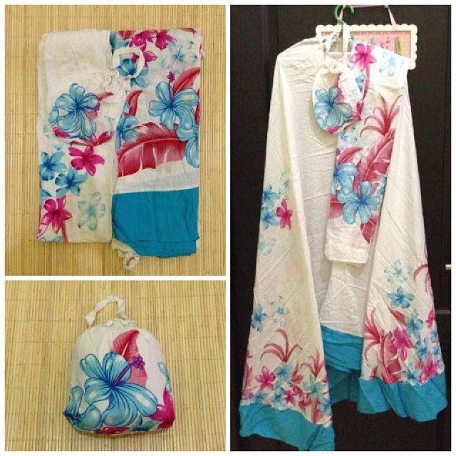Mukena Bali Blue White @ 170 K Ukuran Jumbo Bahan Katun Rayon