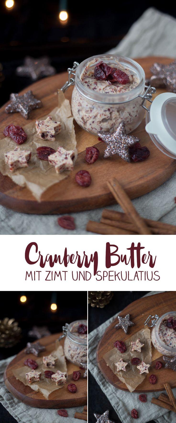 Cranberry Butter mit Zimt und Spekulatius - Last Minute DIY Geschenke aus der Küche - Weihnachtsfrühstück Rezeptidee auf Kreativfieber