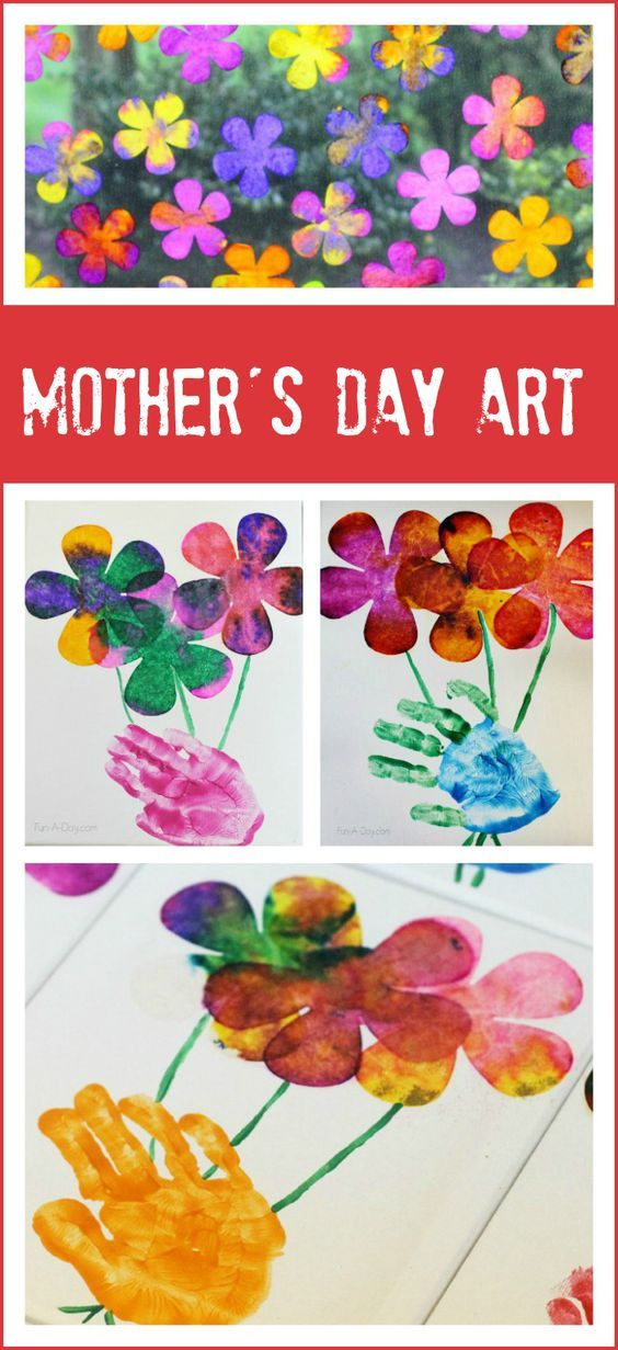 Beautiful Mother's Day art using kids' hand prints and child-made flowers: