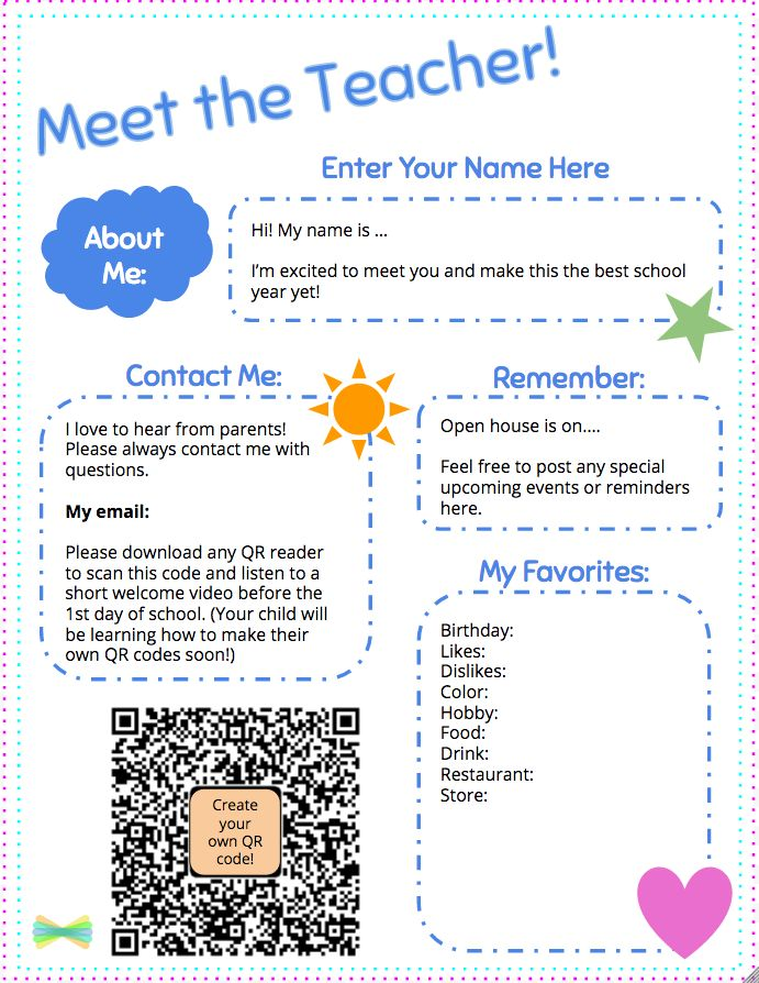 Make your own copy to customize and send home with families!  Get the template here. Learn how to get a QR code for a post in Seesaw…