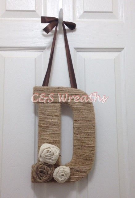 """Burlap Twine Monogram - Letter """"D"""" with burlap rosettes and chocolate brown ribbon."""