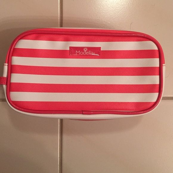 Pink and white striped make up bag Pink and white modella make up bag! Literally used once and no marks or anything! Fits an urban decay make up palette! Bags Travel Bags