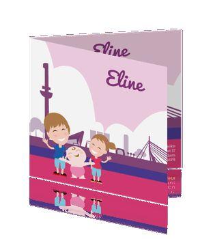 Leuke meisjes geboortekaart silhouet stad rotterdam in roze