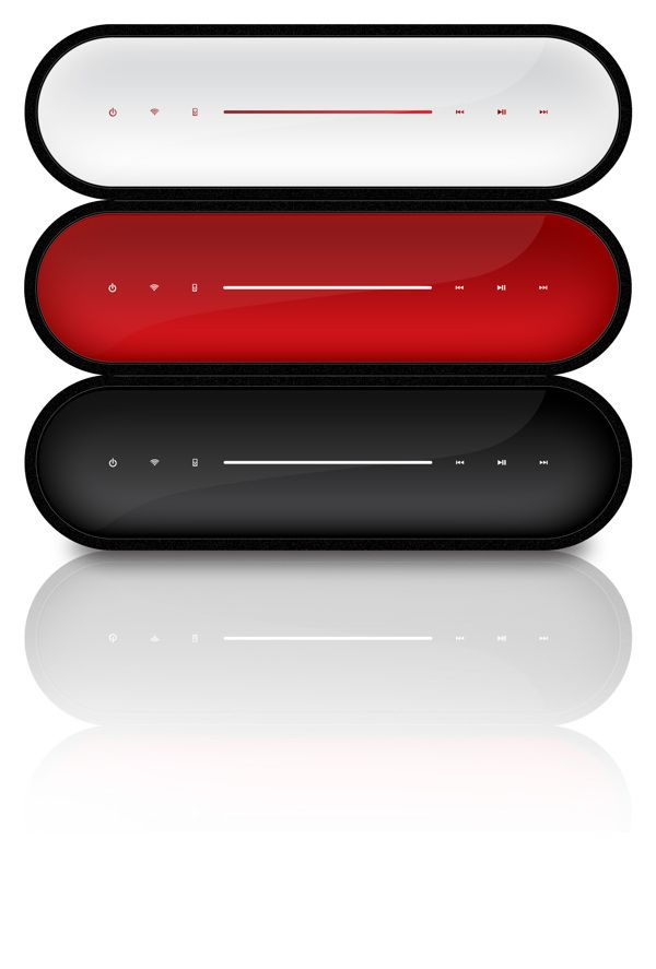 "nice futuristic design conception of ""AirPlay Speakers"" in red and white 