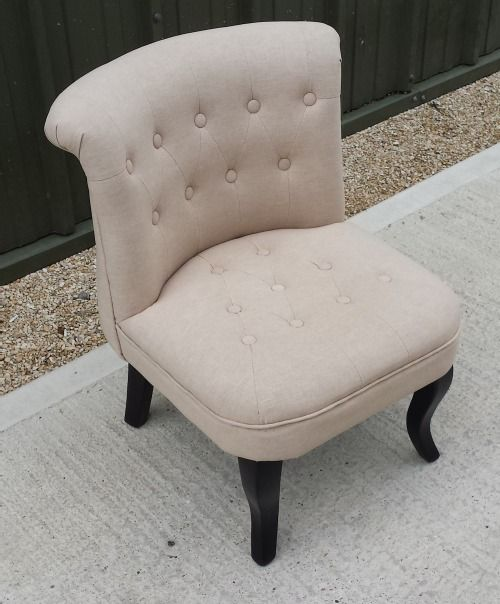 Oatmeal button back boudoir ladies chair - CH-21-1