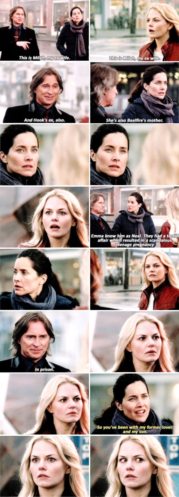"""This is Milah, my ex-wife. And Hook's ex, also. She's also Baelfire's mother"" - Rumple, Milah and Emma #OnceUponATime ((One of the best scenes of the episode, hahahaha))"