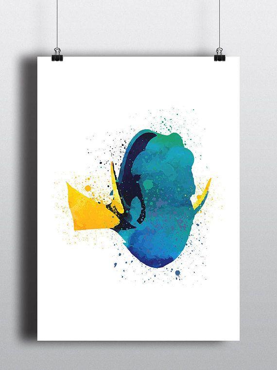 Finding Nemo Poster Print - Dory   Watercolour   Disney Pixar   A2 Size-Resizable   Printable   Digital Download   Nursery Art   Minimalist