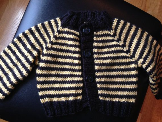 Baby Sweater Striped Boston Bruins by KnotYourAvgKnits on Etsy, $35.00