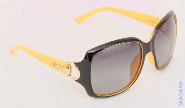 Очки Gucci черные с желтыми дужками