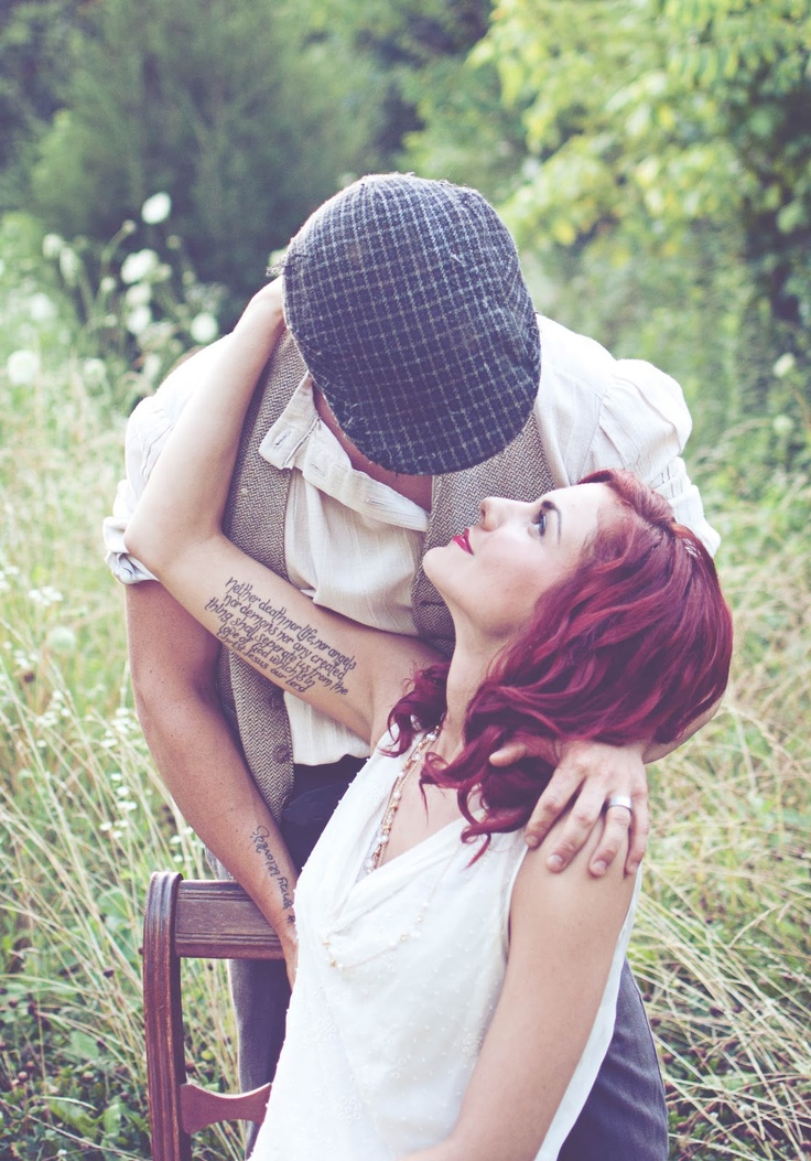 St. Louis Area Photographer::Robert and Erica's Stylized Session | Vintage Suitcase Photography    Beautiful couple. Beautiful tattoo, 20's styled session.