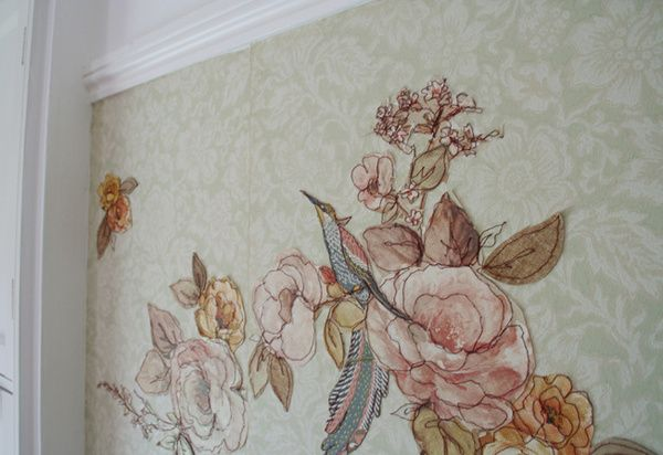 stitched vintage wallpaper by Claire Coles