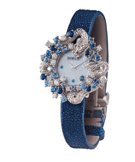 DAMIANI- Mimosa Collection- Dragon White Diamonds and Sapphires Watch. € 32.000