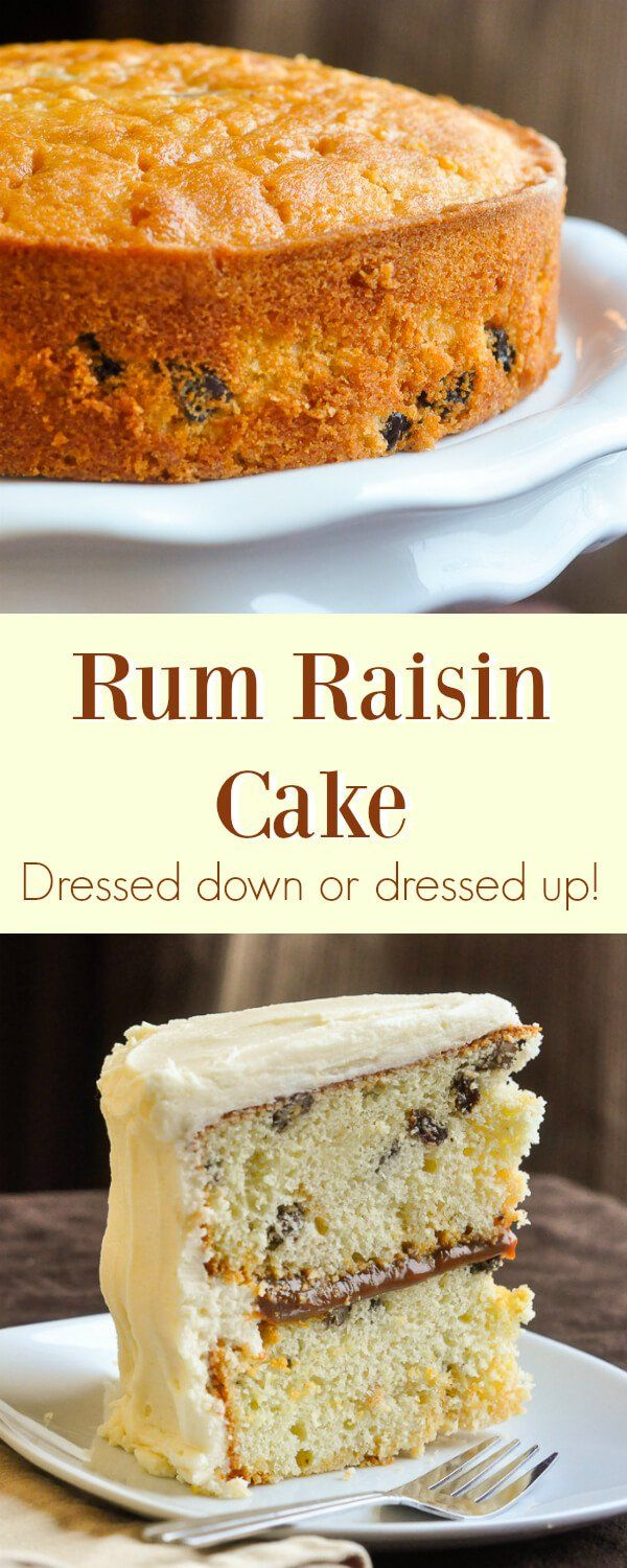 Rum Raisin Cake - here's a delicious taste of the Caribbean with rum soaked raisins baked into a vanilla cake, then soaked in more rum. Boozy but delicious! Enjoy it plain or dress it up with a caramel filling and rum buttercream frosting.