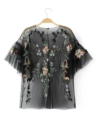 Flower Embroidery Sheer Mesh Top