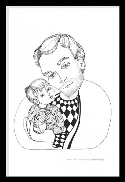 Father & Child, Illustration by Kerstin:Design #nordicdesigncollective #kerstin:design #father #child #son #bonding #family #love #illustration