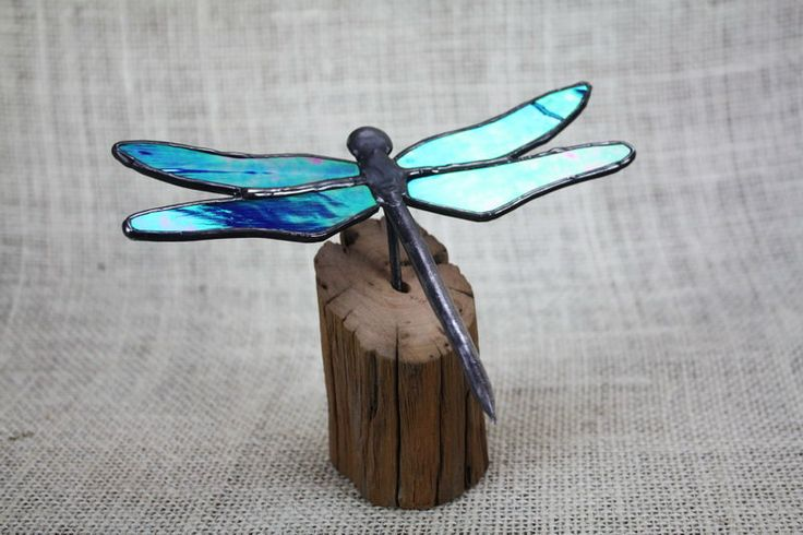 Blue Iridescent Dragonfly Stained Glass Sculpture on Wood Base by BerlinGlass on Etsy