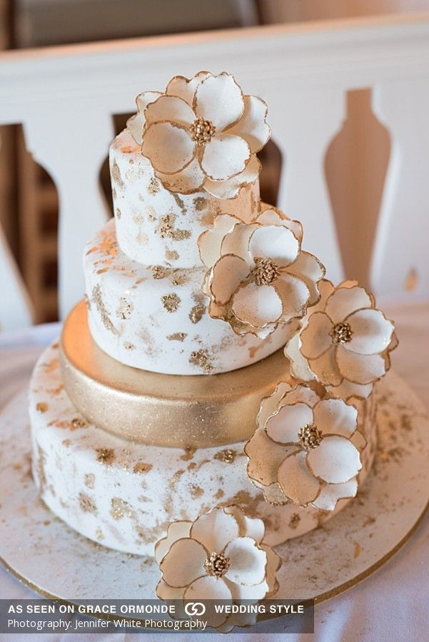 wedding cakes los angeles prices%0A Gold And White Wedding Cake With Cascading Sugar Florals