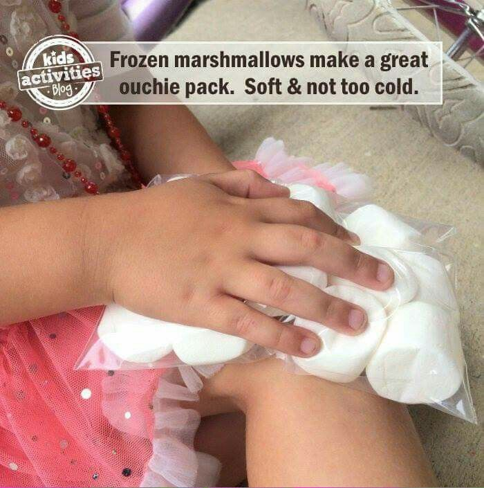 Kids hack - frozen marshmallows for a ouchie pack