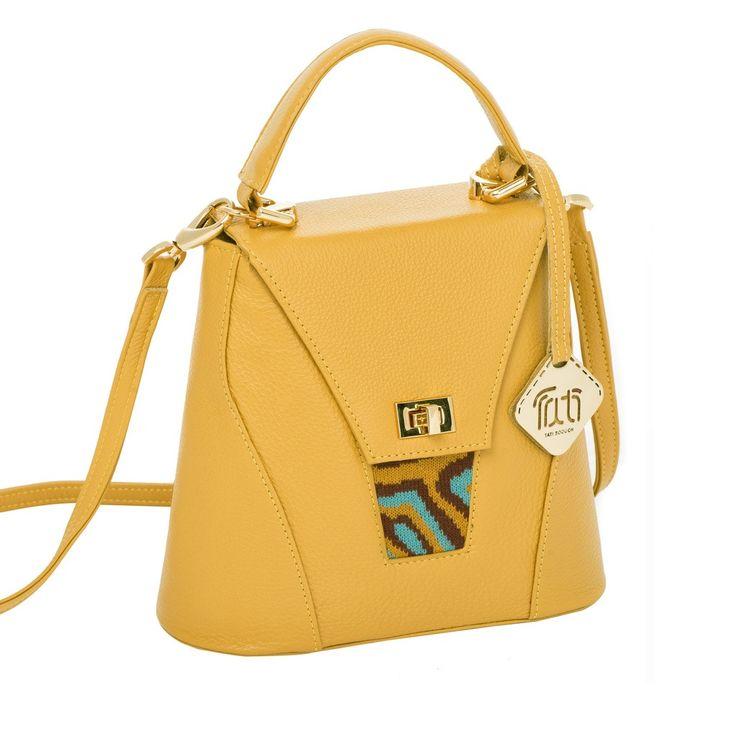TATI BODUCH Designer Handbag, AGATE Mini Collection, genuine leather: mustard, knitwear: turquoise - Kaneli Nomad Boutique boho  chic, bohemian, gypsy inspired, hippy chic