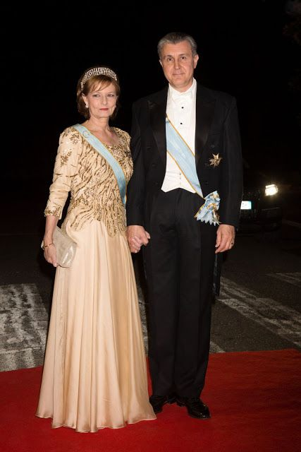 Crown Princess Margareta with her husband Prince Radu of Romania arrive for the gala dinner at the Royal palace after the wedding of Crown Prince Leka II of Albania and Crown Princess Elia of Albania in Tirana, Albania.