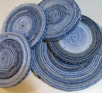 denim coasters made out of the seams on old jeans. You could do this on a large scale and make a really cool area rug.