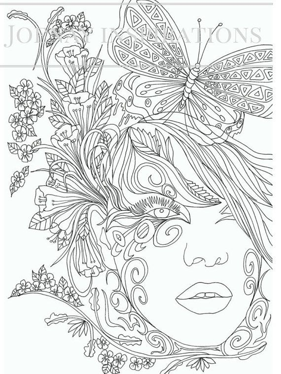 adult coloring book printable coloring pages coloring pages coloring book for adults instant download faces of the world 2 page 12