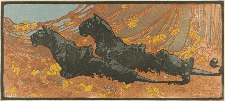 Zwarte Panter, Bernard Willem Wierink (1866-1939) 1917, (black panthers), woodcut